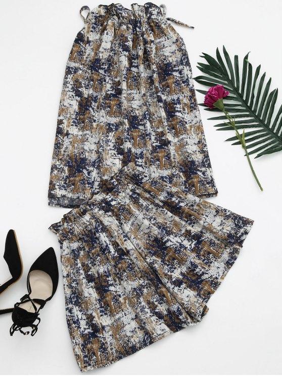 Tie Dye Ruffles Top et Shorts Set - Bleu TAILLE MOYENNE