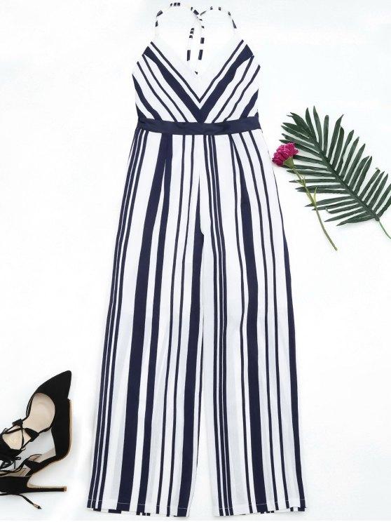 new Open Back Striped Cami Jumpsuit - PURPLISH BLUE M