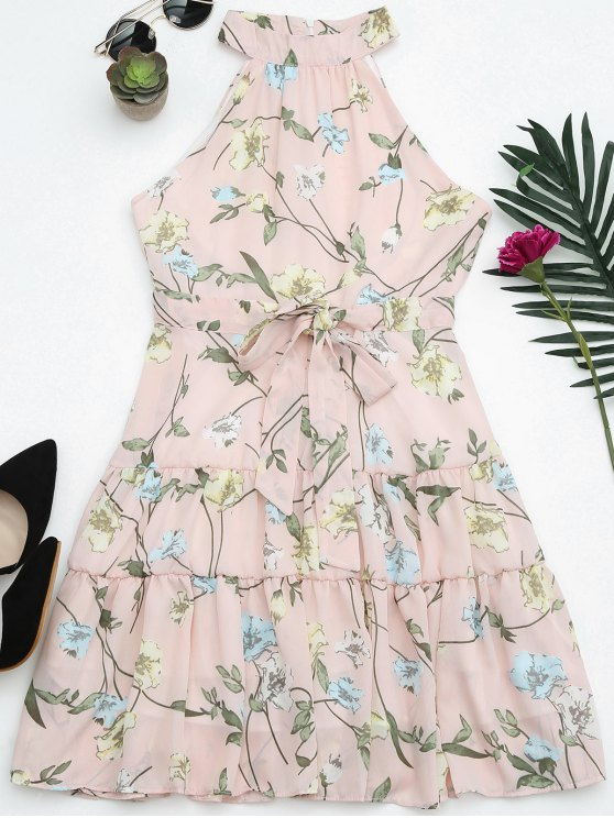 Sin mangas de cuello alto vestido de impresión floral - Rosa M