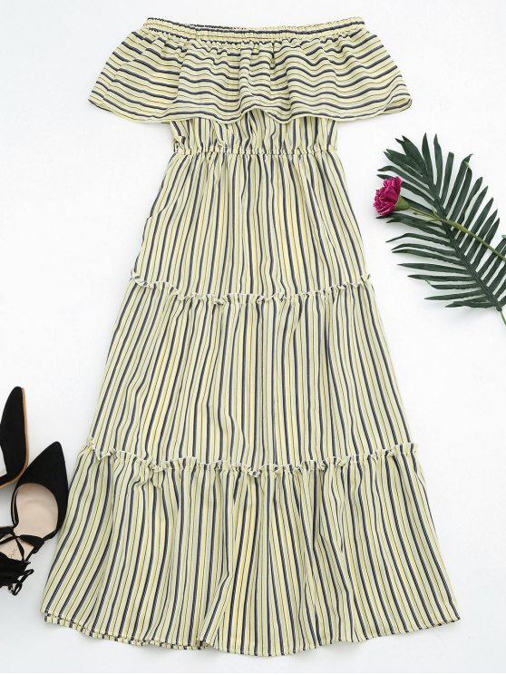 women's Flounce Off The Shoulder Stripe Dress - YELLOW ONE SIZE