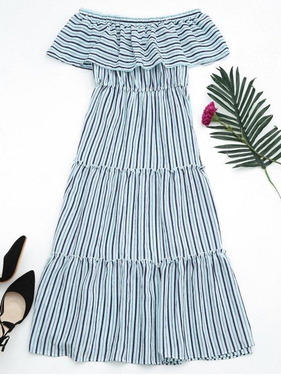 lady Flounce Off The Shoulder Stripe Dress - SKY BLUE ONE SIZE