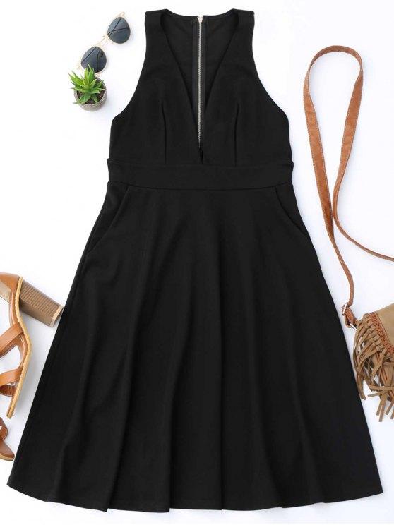 hot Plunging Neck Sleeveless Flare Dress - BLACK XL