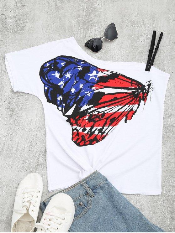 Camiseta del cuello de la inclinación de la impresión de la mariposa - Multi S