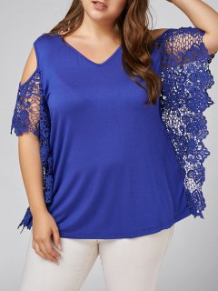 Plus Size Butterfly Sleeve Cold Shoulder Blouse - Blue 3xl