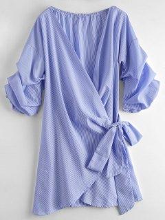 Striped Self Tie Wrap Dress - Stripe M