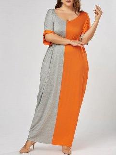 Plus Size Maxi Color Block Baggy T-shirt Dress - Grey And Orange 3xl