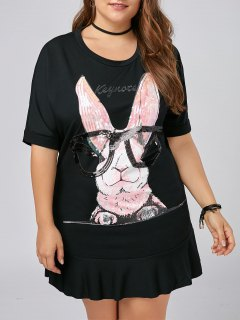 Plus Size Funny Rabbit Flounce T-shirt Dress - Black 2xl