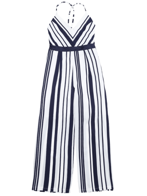 new Open Back Striped Cami Jumpsuit - PURPLISH BLUE M Mobile