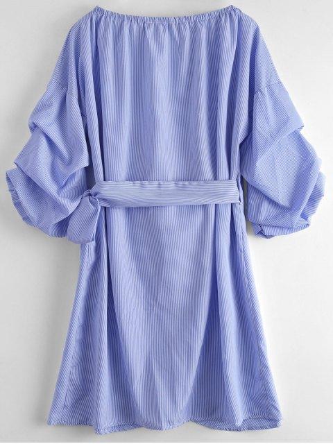 women Striped Self Tie Wrap Dress - STRIPE L Mobile