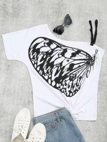 Butterfly Print Skew Collar Tee