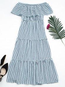Flounce Off The Shoulder Stripe Dress