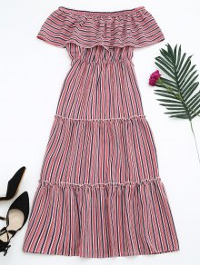 Flounce Off The Shoulder Stripe Dress