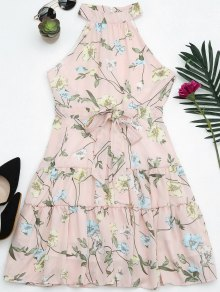Sleeveless High Neck Floral Print Dress - Pink M