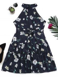 Sleeveless High Neck Floral Print Dress - Purplish Blue M