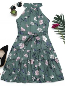 Sleeveless High Neck Floral Print Dress - Moss M