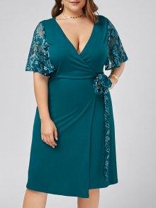 Plus Size Lace Trim Low Cut Wrap Dress - Malachite Green 3xl