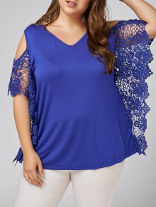 Plus Size Butterfly Sleeve Cold Shoulder Blouse - Blue 4xl