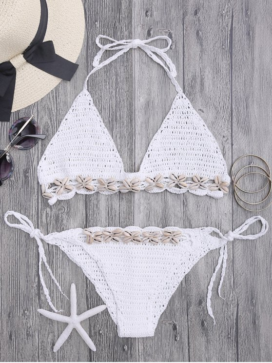 Seashell Trim Crochet String Bikini Set - White One Size(fit Size Xs To M)