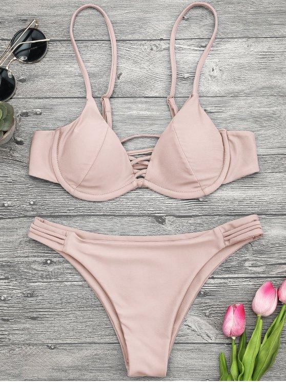 online Lattice Padded Underwire Bikini Set - PINK M