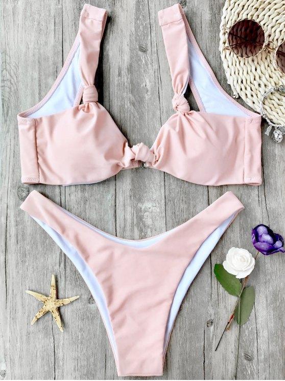 outfits High Cut Padded Knotted Bikini Set - PINK S
