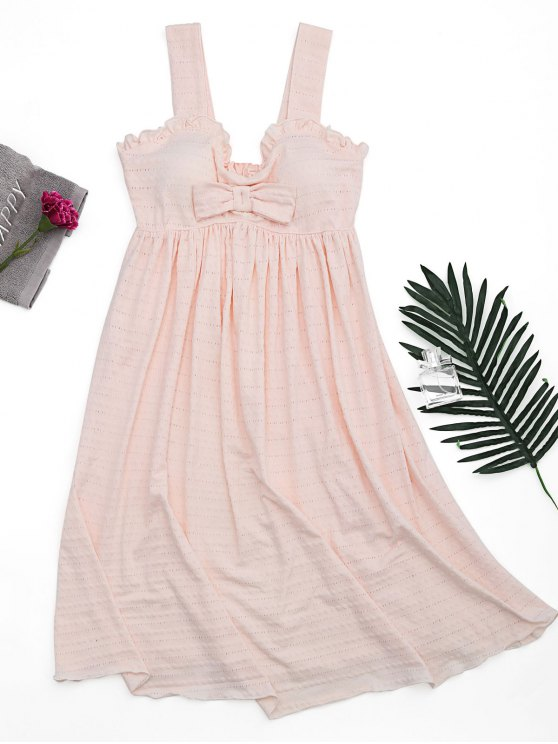 buy Ruffles Straps Bowknot Padded Sleep Dress - SHALLOW PINK S