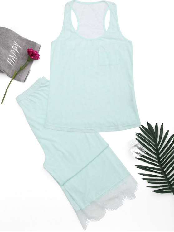 ladies Racerback Lace Panel Loungewear Suit - LIGHT GREEN S