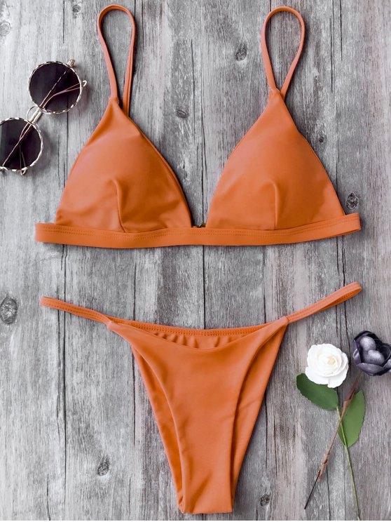 fashion Spaghetti Straps Plunge Thong Bikini Set - ORANGE S