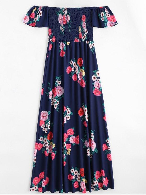Vestido largo con estampado floral - Azul Purpúreo L
