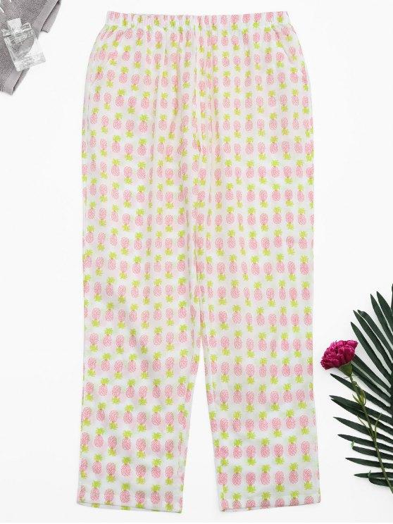 shops Side Pockets Pineapple Print Loungewear Pants - WHITE S