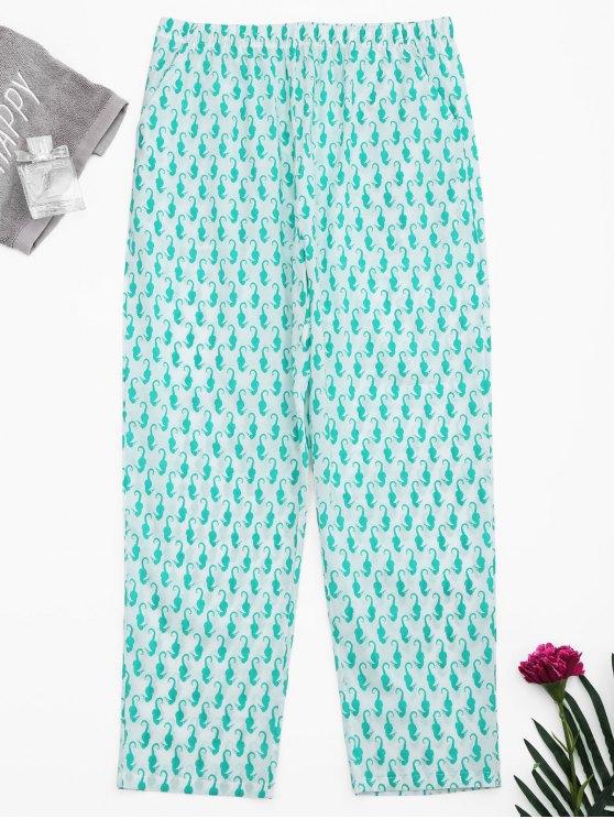 affordable Side Pockets Sea Horse Print Loungewear Pants - WHITE S
