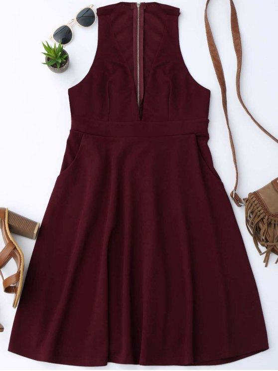 chic Plunging Neck Sleeveless Flare Dress - WINE RED XL
