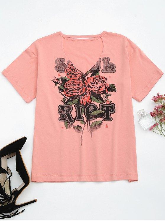 T-shirt à manches courtes en coton - ROSE PÂLE S