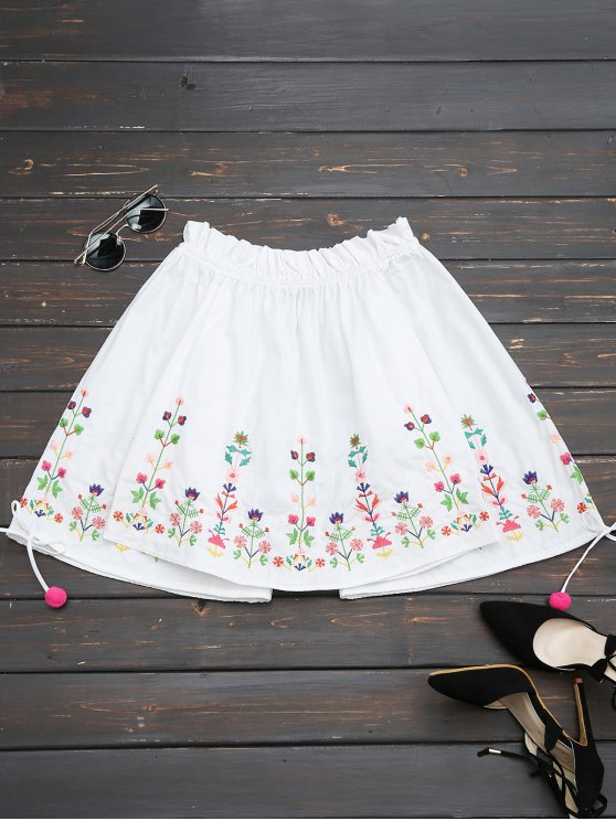 buy Embroidered Flare Sleeve Off Shoulder Blouse - WHITE S