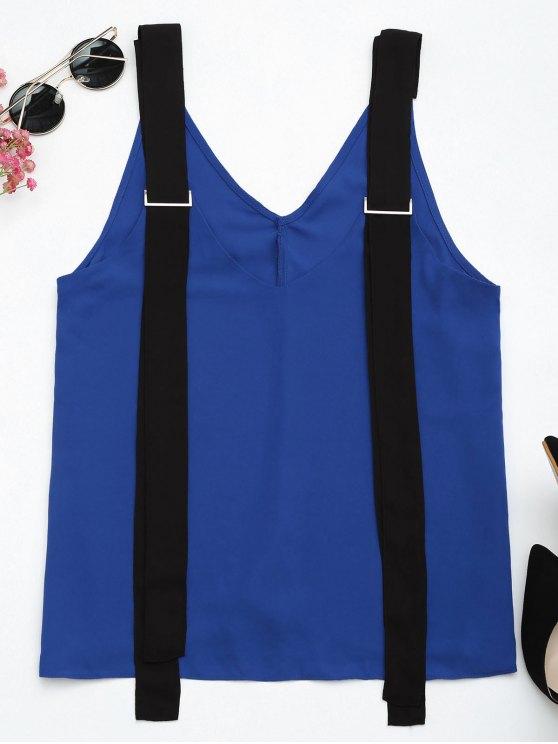 Dos tonos gasa Tank Top con correas - Azul y Negro S