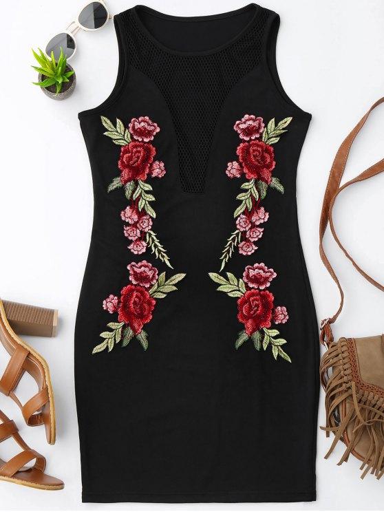 Vestido con estampado floral con remaches - Negro XL