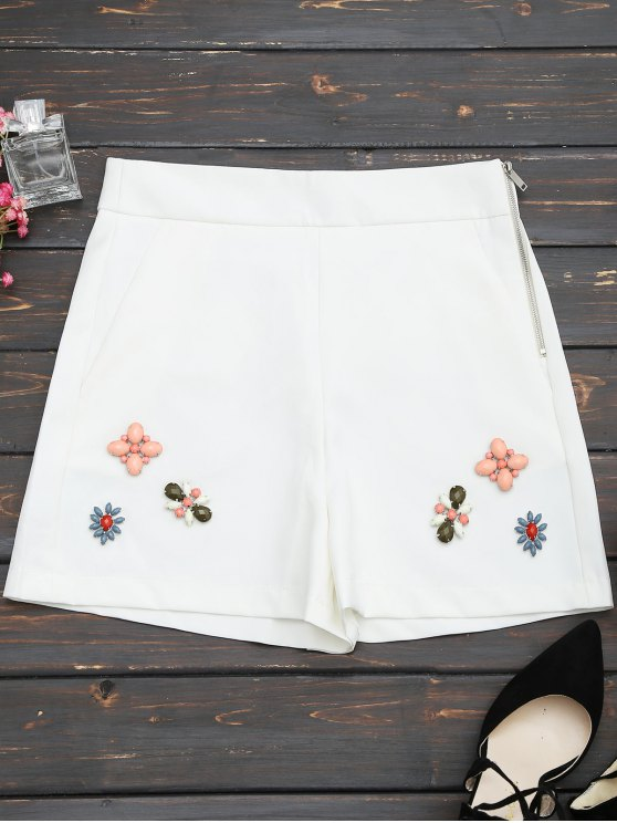 womens High Waisted Beading Patched Shorts - WHITE S
