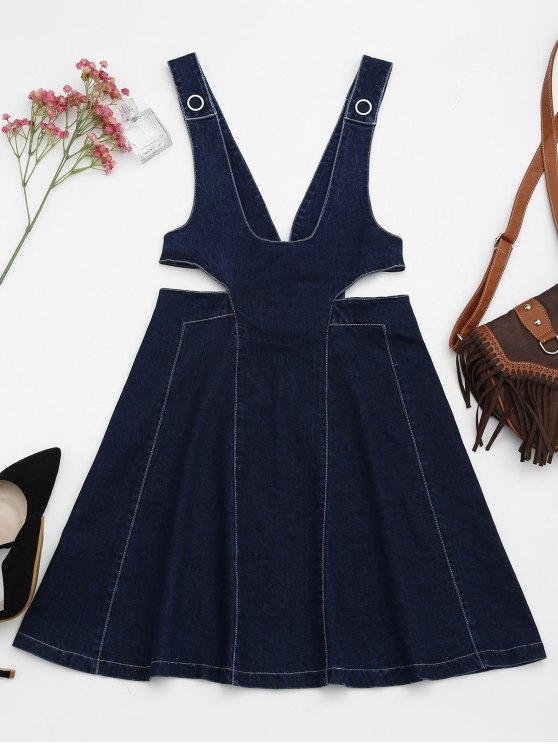 ladies Cut Out Pinafore Denim Dress - DENIM BLUE S