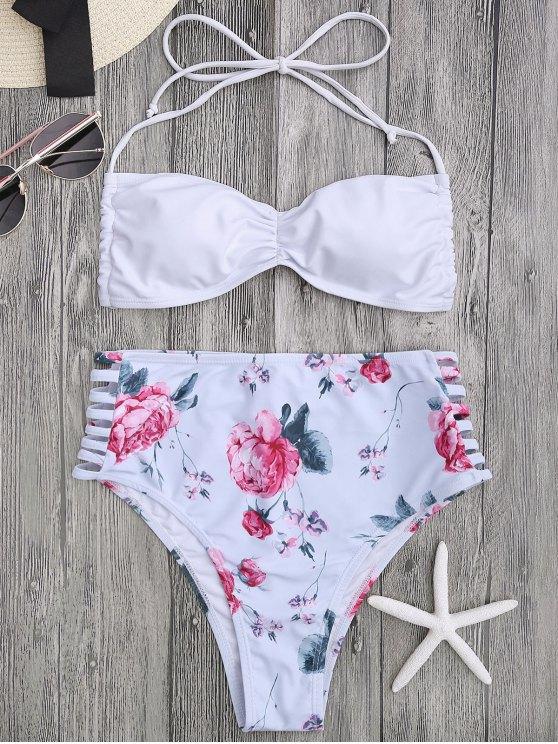 online Floral Ladder Cut Ruched High Cut Bikini - WHITE S
