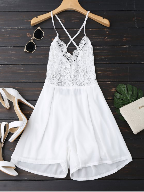 Lace Panel Open Back Cami Romper - Blanc S