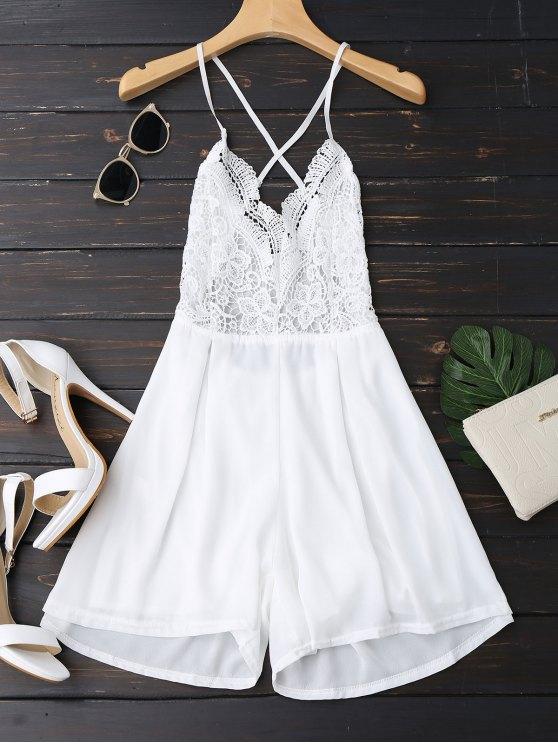 trendy Lace Panel Open Back Cami Romper - WHITE XL
