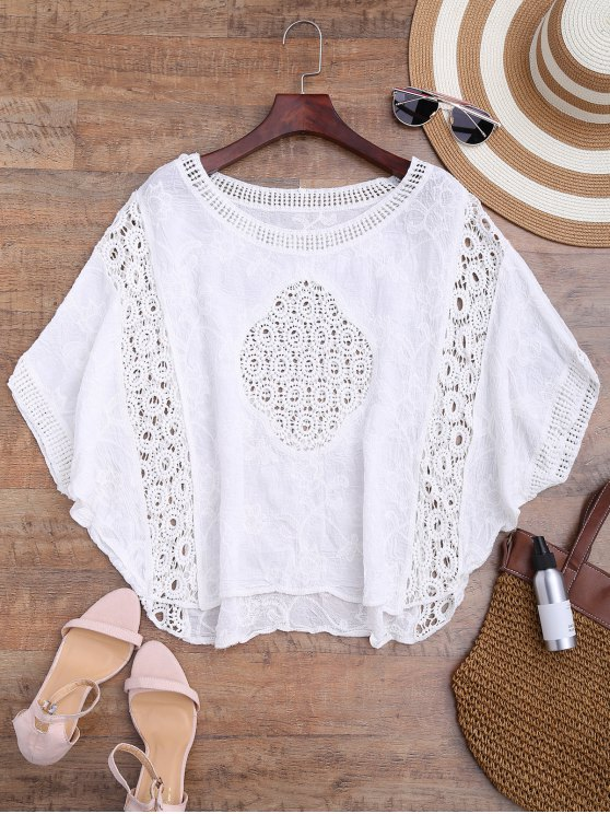 fashion Batwing Crochet Panel Cover Up - WHITE ONE SIZE