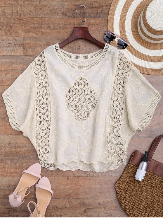 chic Batwing Crochet Panel Cover Up - BEIGE ONE SIZE