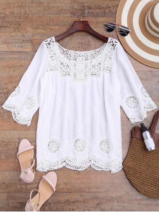 fancy Loose Fitting Crochet Panel Cover Up - WHITE ONE SIZE