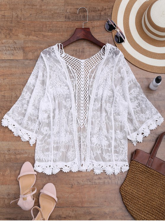 affordable Sheer Open Front Crochet Cover Up - WHITE ONE SIZE