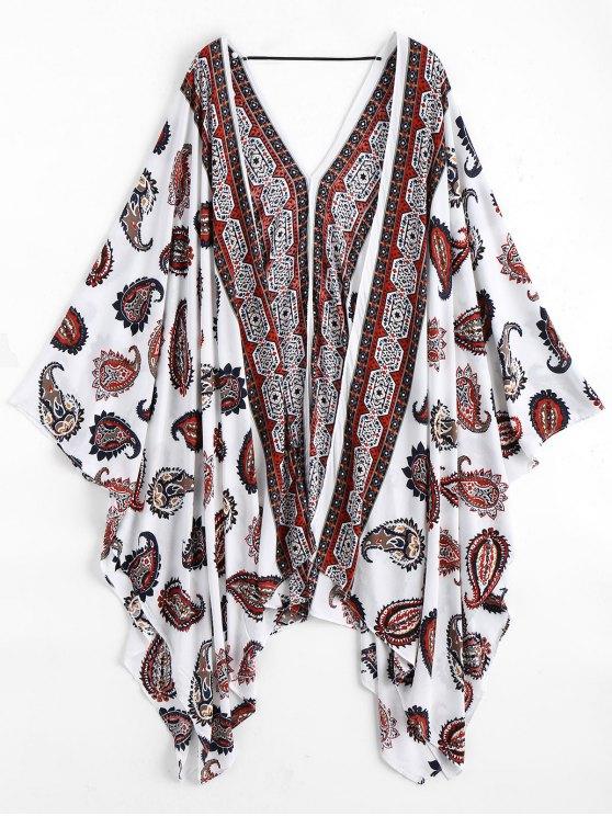womens Paisley Kimono Cover Up - WHITE ONE SIZE
