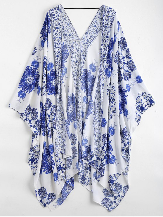 women Floral Kimono Cover Up - BLUE AND WHITE ONE SIZE