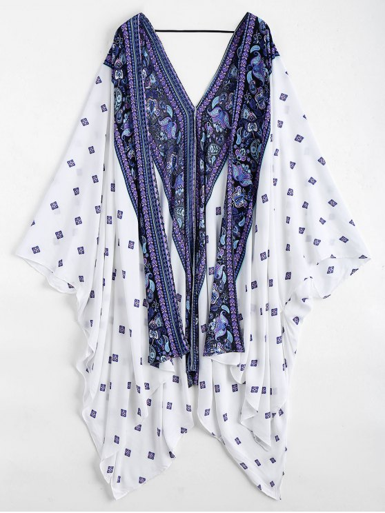 women's Batwing Paisley Patterned Kimono Cover Up - WHITE ONE SIZE