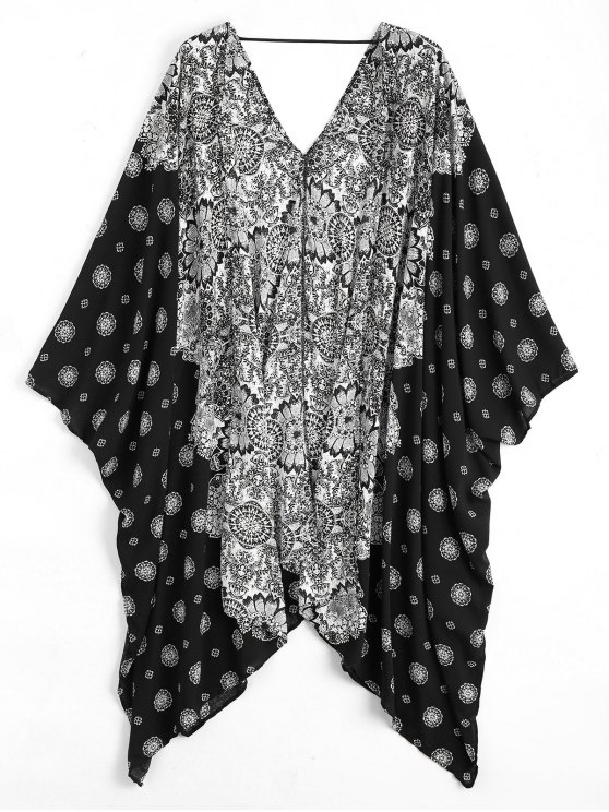 ladies Batwing Sleeve Patterned Kimono Cover Up - BLACK ONE SIZE