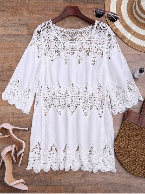 outfits Hollow Out Crochet Panel Cover Up Dress - WHITE ONE SIZE