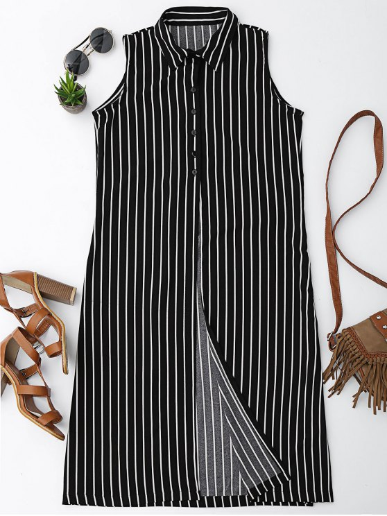 chic Sleeveless Striped High Slit Shirt - STRIPE S